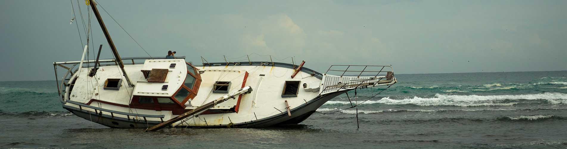 ship stranded on shore
