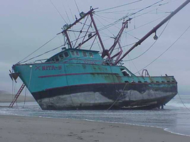 Marine Salvage Company in Marin County, California - nita h boat beached